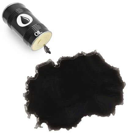 slick: Barrel of oil and a glossy spill in the shape of Macedonia (series)
