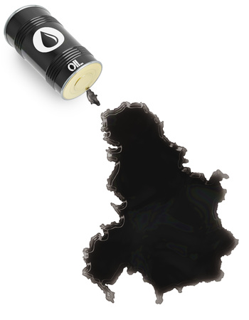 serbia and montenegro: Barrel of oil and a glossy spill in the shape of Serbia Montenegro (series) Stock Photo