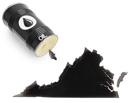 liquid state: Barrel of oil and a glossy spill in the shape of Virginia (series)