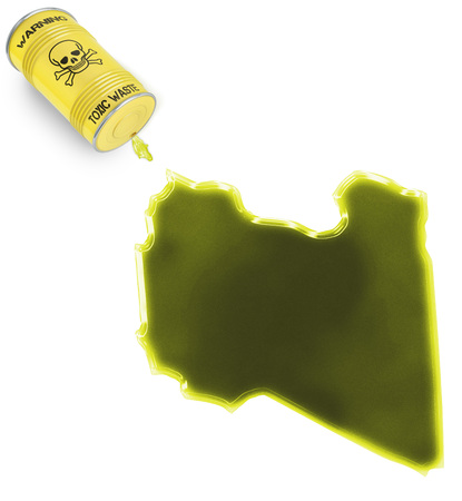 Glossy spill of a toxic substance in the shape of Libya (series) photo