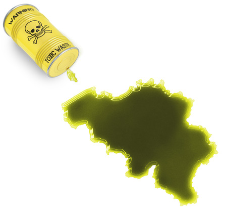 Glossy spill of a toxic substance in the shape of Belgium (series) photo