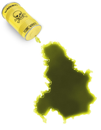 serbia and montenegro: Glossy spill of a toxic substance in the shape of Serbia Montenegro (series)