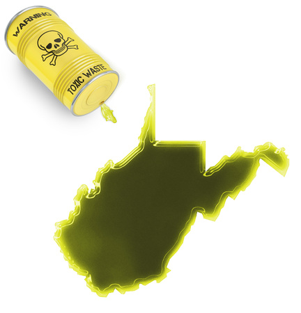 Glossy spill of a toxic substance in the shape of West Virginia (series) photo