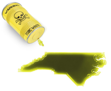 Glossy spill of a toxic substance in the shape of North Carolina (series) photo