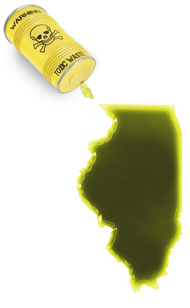 liquid state: Glossy spill of a toxic substance in the shape of Illinois (series)