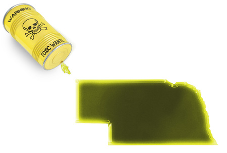 liquid state: Glossy spill of a toxic substance in the shape of Nebraska (series) Stock Photo