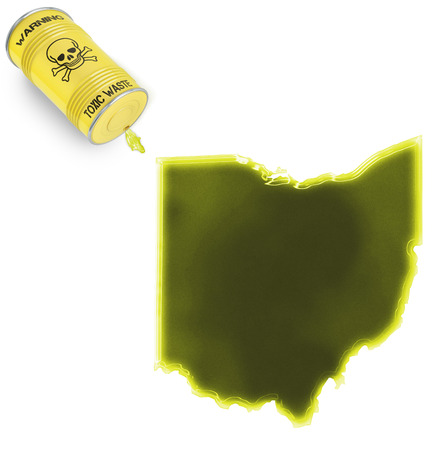 Glossy spill of a toxic substance in the shape of Ohio (series) photo