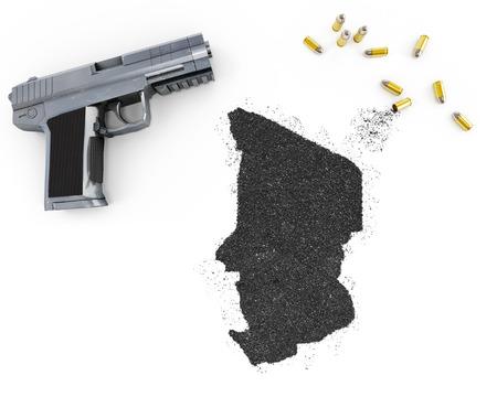 blackmail: Gunpowder forming the shape of Chad and a handgun.(series)