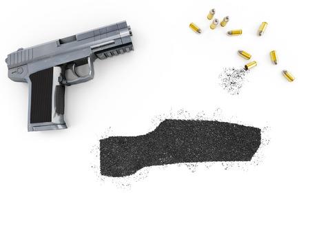 blackmail: Gunpowder forming the shape of Gambia and a handgun.(series)