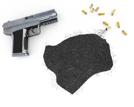 gunpowder: Gunpowder forming the shape of Guinea-Bissau and a handgun.(series)