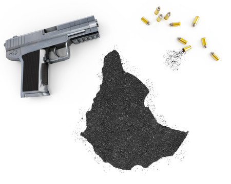 blackmail: Gunpowder forming the shape of Ethiopia and a handgun.(series)