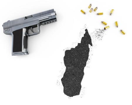 gunpowder: Gunpowder forming the shape of Madagascar and a handgun.(series)