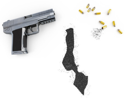 malawian: Gunpowder forming the shape of Malawi and a handgun.(series) Stock Photo