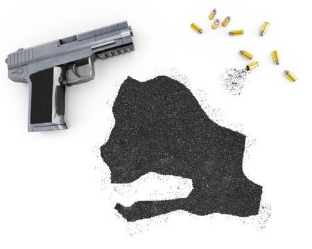 gunpowder: Gunpowder forming the shape of Senegal and a handgun.(series) Stock Photo