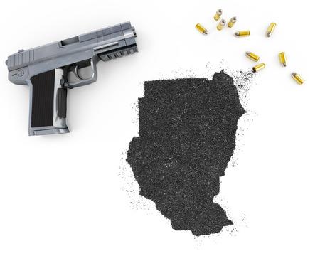 gunpowder: Gunpowder forming the shape of Sudan and a handgun.(series)