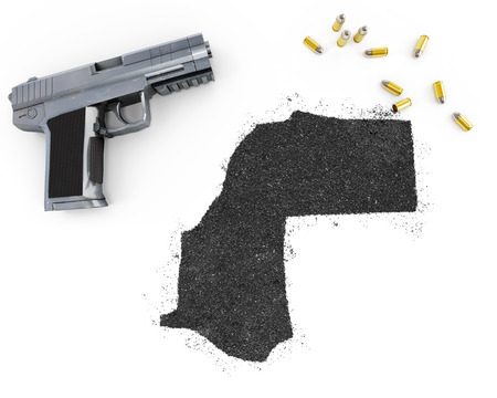 blackmail: Gunpowder forming the shape of Western Sahara and a handgun.(series)