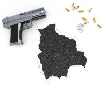 gunpowder: Gunpowder forming the shape of Bolivia and a handgun.(series)