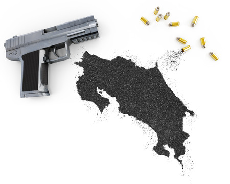 gunpowder: Gunpowder forming the shape of Costa Rica and a handgun.(series)