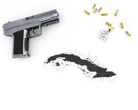 gunpowder: Gunpowder forming the shape of Cuba and a handgun.(series) Stock Photo