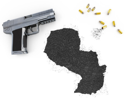 blackmail: Gunpowder forming the shape of Paraguay and a handgun.(series)