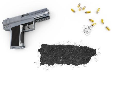 gunpowder: Gunpowder forming the shape of Puerto Rico and a handgun.(series) Stock Photo