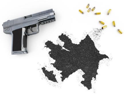 gunpowder: Gunpowder forming the shape of Azerbaijan and a handgun.(series)