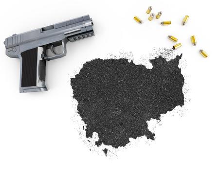 gunpowder: Gunpowder forming the shape of Cambodia and a handgun.(series)