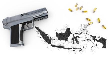 gunpowder: Gunpowder forming the shape of Indonesia and a handgun.(series)