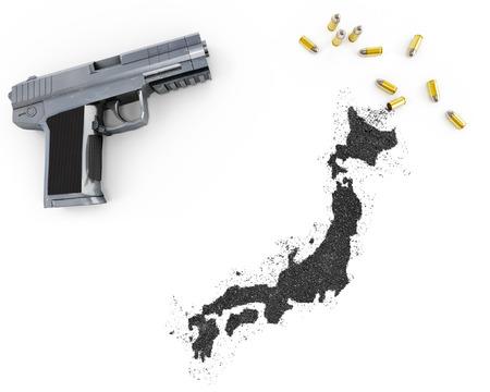 gunpowder: Gunpowder forming the shape of Japan and a handgun.(series)
