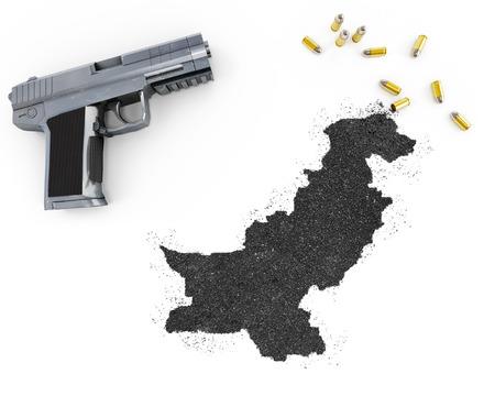 gunpowder: Gunpowder forming the shape of Pakistan and a handgun.(series)