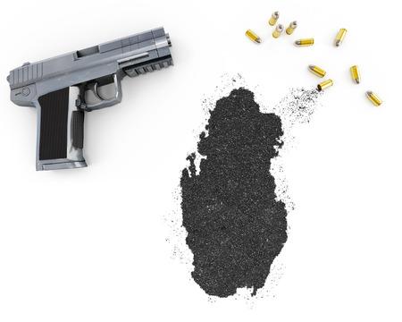 gunpowder: Gunpowder forming the shape of Qatar and a handgun.(series) Stock Photo