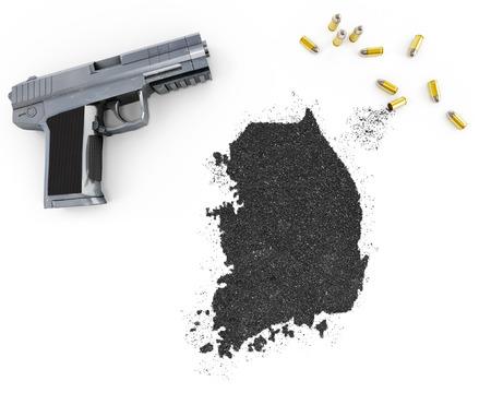 gunpowder: Gunpowder forming the shape of South Korea and a handgun.(series)