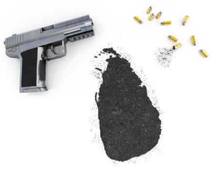 gunpowder: Gunpowder forming the shape of Sri Lanka and a handgun.(series)