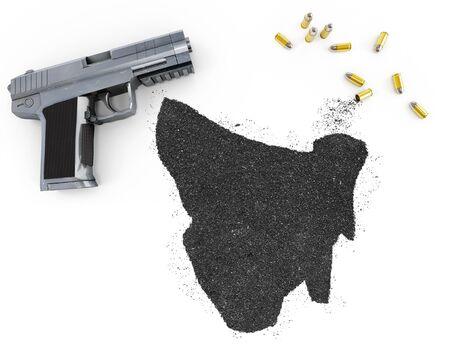gunpowder: Gunpowder forming the shape of Tasmania and a handgun.(series)