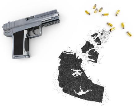 blackmail: Gunpowder forming the shape of Northwest Territories and a handgun.(series) Stock Photo