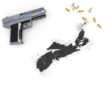 scotia: Gunpowder forming the shape of Nova Scotia and a handgun.(series) Stock Photo