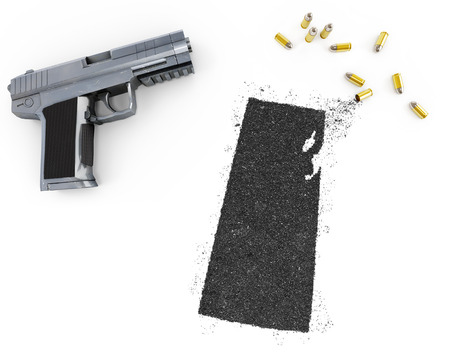 gunpowder: Gunpowder forming the shape of Saskatchewan and a handgun.(series) Stock Photo
