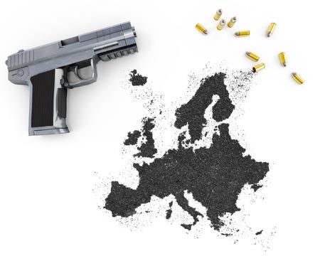 gunpowder: Gunpowder forming the shape of Europe and a handgun.(series)
