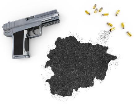 gunpowder: Gunpowder forming the shape of Andorra and a handgun.(series)