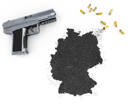 german handgun: Gunpowder forming the shape of Germany and a handgun.(series)