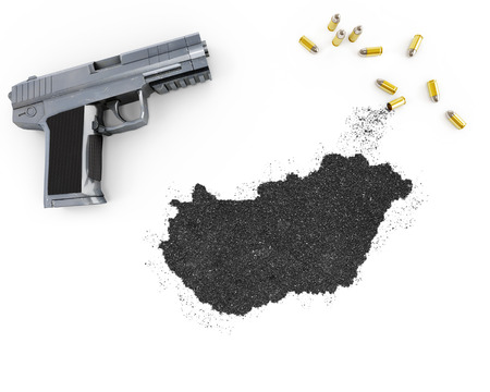 gunpowder: Gunpowder forming the shape of Hungary and a handgun.(series)