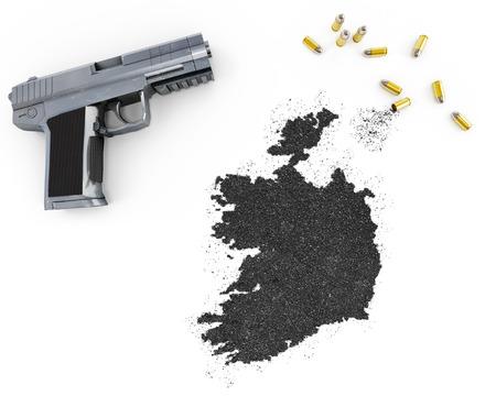 gunpowder: Gunpowder forming the shape of Ireland and a handgun.(series)