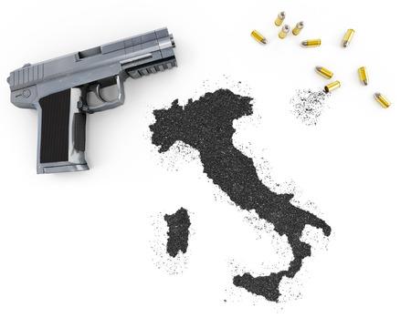 gunpowder: Gunpowder forming the shape of Italy and a handgun.(series)