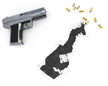 blackmail: Gunpowder forming the shape of Monaco and a handgun.(series)