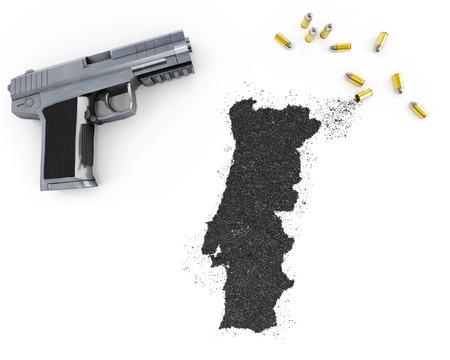 gunpowder: Gunpowder forming the shape of Portugal and a handgun.(series)