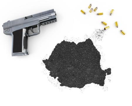 gunpowder: Gunpowder forming the shape of Romania and a handgun.(series)