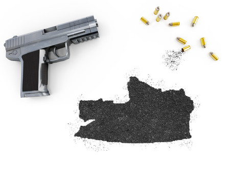 russian federation: Gunpowder forming the shape of Russian Federation and a handgun.(series)