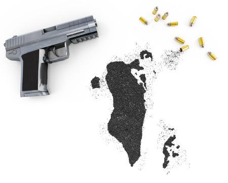 blackmail: Gunpowder forming the shape of Bahrain and a handgun.(series)