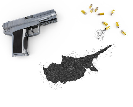 gunpowder: Gunpowder forming the shape of Cyprus and a handgun.(series)