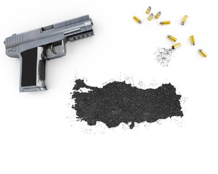 gunpowder: Gunpowder forming the shape of Turkey and a handgun.(series) Stock Photo
